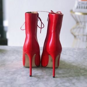 Nasty Gal Shoes - Red Lace Up Booties